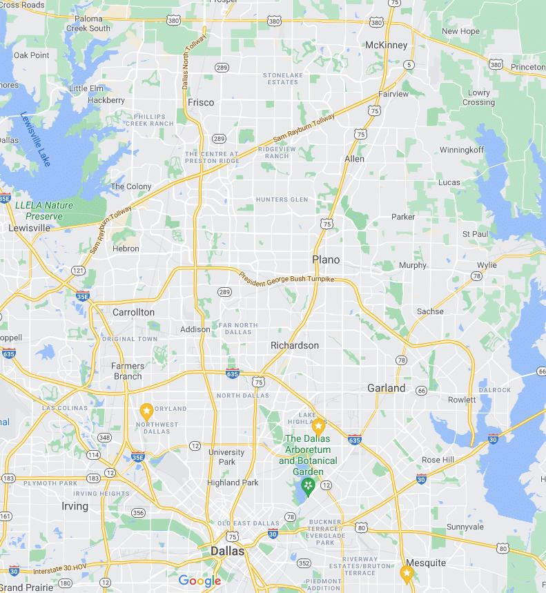 House Cleaning Service Area Map Dallas Metro Collin Denton and Dallas County